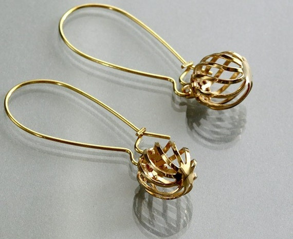 Gold drop earrings, Cage kidney dangle, delicate earring, simple, holidays gift, everyday jewelry, by balance9