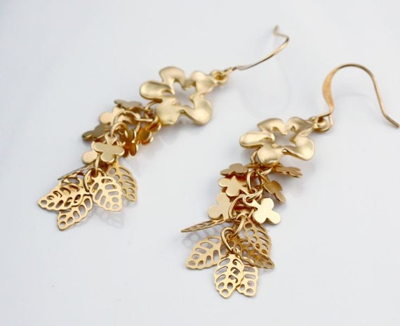 Golden flower Leaf Cluster Earrings