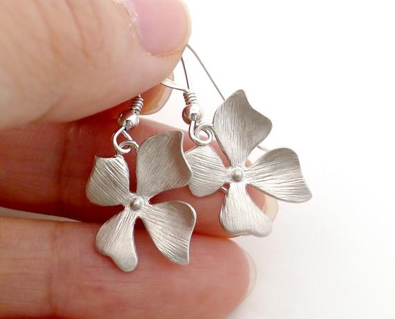 Orchid Earrings, dainty flower earrings, sterling silver earwire, wild flower dangle, everyday jewelry, bridesmaid wedding gift, by balance9