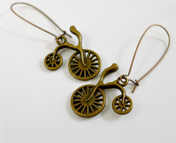 Bicycle Earrings, Vintage Bike, Antique Brass Kidney, by balance9