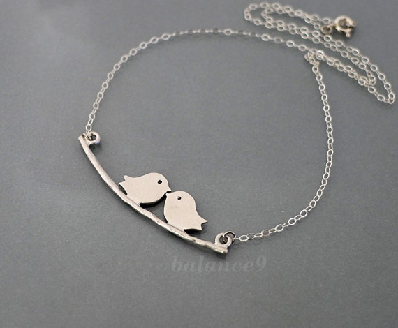 Love birds on Branch Necklace, kissing birds necklace, sterling silver chain, dainty bridesmaid jewelry wedding, holidays gift, by balance9