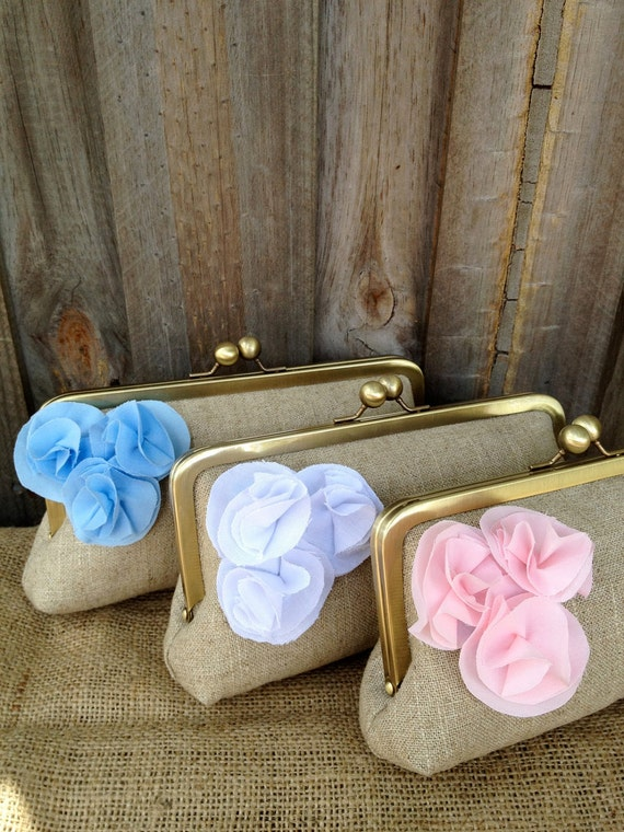 custom : oatmeal lace tiny trio, bridesmaid gift, personalized bags