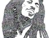 Bob Marley Black and White 8.5 x 11 Word Portrait Print