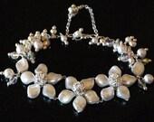 Flower Swarovski white pearl and silver bridal/wedding chandelier bracelet