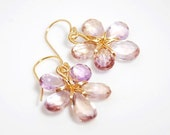 Sparkly Ametrine and Citrine small flower earrings 14K gold filled