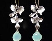 Double silver orchid flower aqua chalcedony earrings