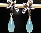 Silver flower with cubic zirconia and Aqua Chalcedony  teardrop earrings