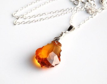 Large Swarovski Baroque pendant necklace in topaz color and sterling silver