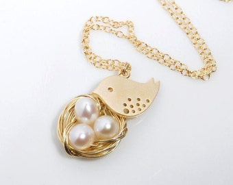 Bird nest necklace with 14K gold filled chain--choose the number of the eggs