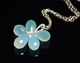 Micro faceted chalcedony flower necklace with sterling silver chain