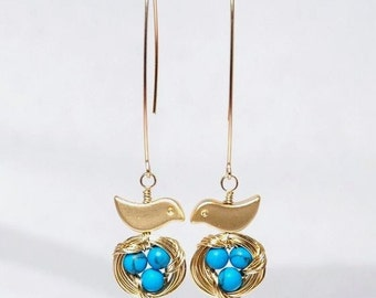 Mini bird nest 12K gold filled earrings-turquosie / robin egg