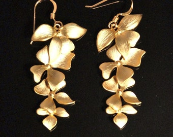 Metal flower cascade dangle earrings with four metal flowers 14K gold filled ear wires