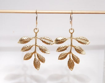 Metal leaves earrings with gold filled ear wires