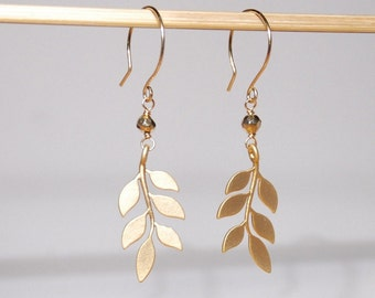 Golden leaves pyrite earrings with gold filled ear wires
