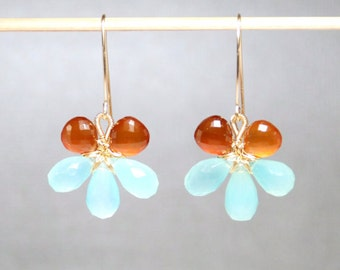 Faceted aqua chalcedony micro faceted sunstone14K gold filled wire wrapped flower earrings