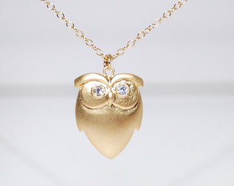 Cute Owl 14K gold filled necklace
