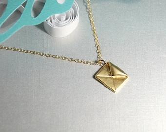 Envelop pendant necklace, Letter pendant necklace in gold, 14K gold filled chain