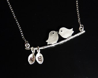 Personalized Lovebird Necklace Love Necklace Silver Necklace Bird Necklace Bird Jewelry Sterling Silver Love Birds Gift For Her