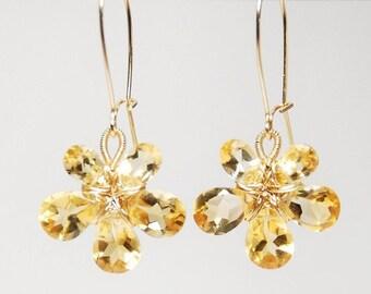 November birthstone earrings, Citrine earrings, 14K gold filled wire wrapped flower dangle earrings concave cut grade AAA flawless earrings