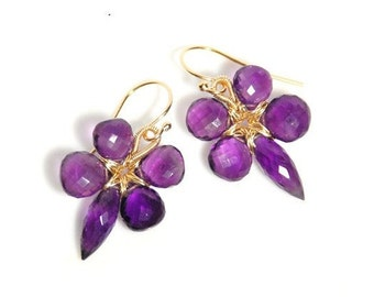 Grade AA-AAA micro faceted Amethyst 14K gold filled wire wrapped flower earrings