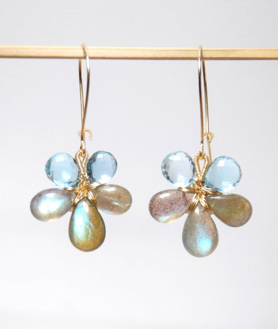 Grade AA-AAA micro faceted swiss blue topaz smooth labradorite gold filled flower earrings