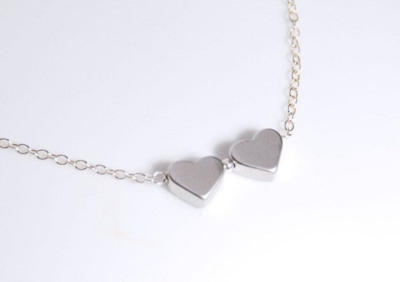 Sterling silver necklace, in love necklace in silver, wedding jewelry, birthday jewelry gift, heart necklace