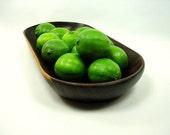 Handmade Walnut Trencher Fruit  Bowl, Dark Wood, Hand Carved