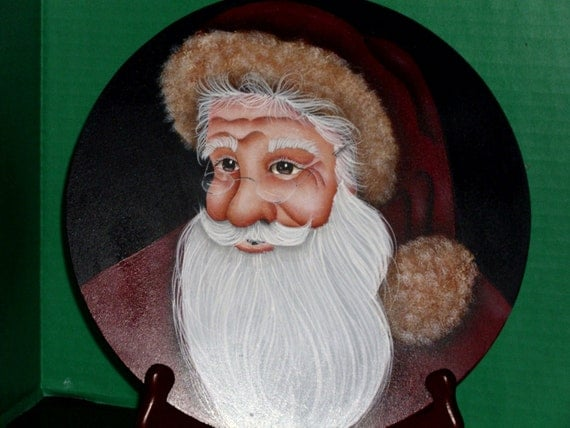 santa claus hand painted on wood home decor free shipping
