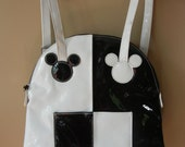 Vintage Mickey Mouse Mini Backpack, Black and White,  Deadstock, New Old Stock, Vinyl, Mickey and Co., Club Kid