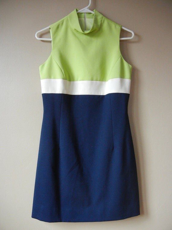 ON SALE Color Block Sleeveless Dress, Lime Green, White, Navy Blue, Size Small
