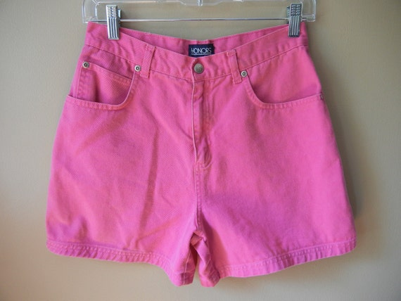 Vintage High Waisted Shorts, Hot Pink, 90's, Size Small, Club Kid, Seapunk, Raver, Hipster