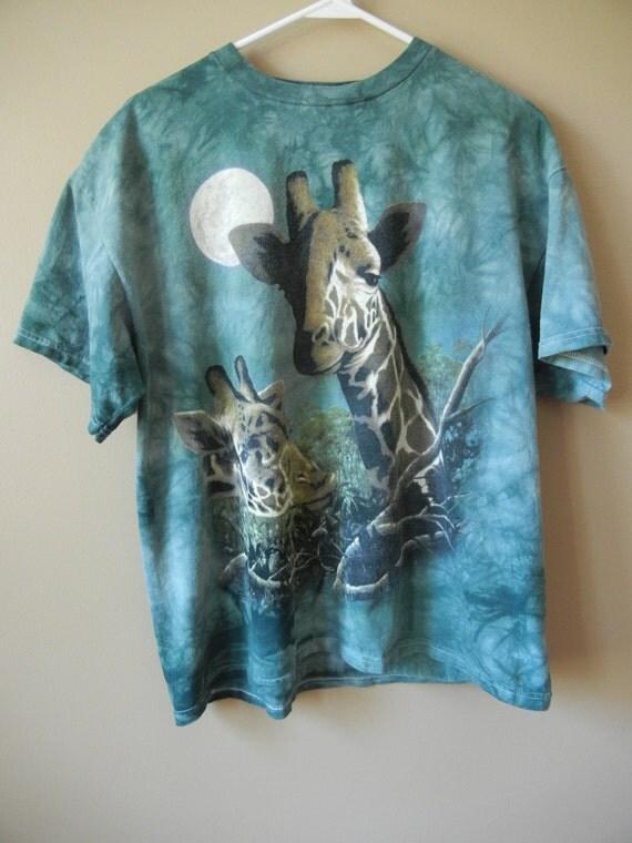 Vintage 90's Giraffe T Shirt, Size Large-XL, Tie Dye, Unisex, Grunge, Animal T Shirt, Hipster