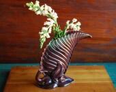 Royal Haeger Leaf Vase, Vintage Hollywood Regency Style, Royal Haeger R138 Purple Vase