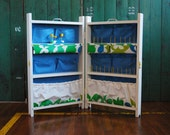 Upcycled Mod Sewing Cabinet, Portable Storage White Blue Green