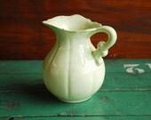 Pale Yellow Green Pitcher or Vase, Garden Design Centerpiece, Autumn Table