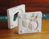 Casting Form Sculpture, Pair of Apple Faces Dish, Wedding or Anniversary Gift