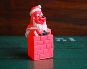Hot Pink Santa Dog Squeeze Toy, 1960's, Possible Grinch Knock-Off Santa Claus Dog in a Chimney