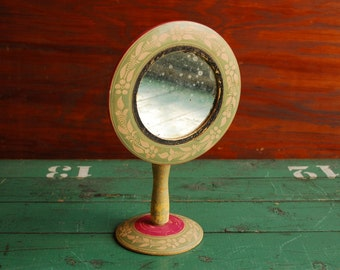 Standing Vanity Mirror, Painted and Etched Wood, Olive Green and Magenta