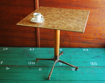 RESERVED - Vintage Midcentury Cafe Table, Sturdy Stylish Bar Table Wood Burl Laminate Top