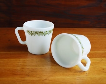 1970s Pyrex Spring Blossom Green Mugs, Model 1410 Microwave Safe Pyrex Milk Glass