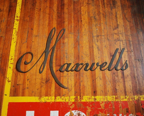 Brass Sign Lettering, Maxwells Industrial Signage Large Metal Wall Letters