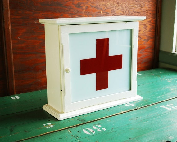 Upcycled Red Cross Medicine Cabinet