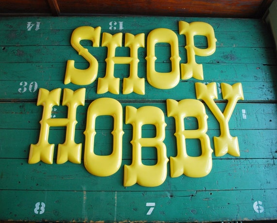 Hobby shop vintage sign letters for Store sign letters