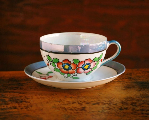 Japanese Lustreware China Cup And Saucer Hand Painted Luster