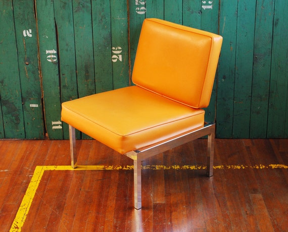 RESERVED - Mid Century Modern Orange Lounge Chair with Chrome Base,  Mad Men Era Seating