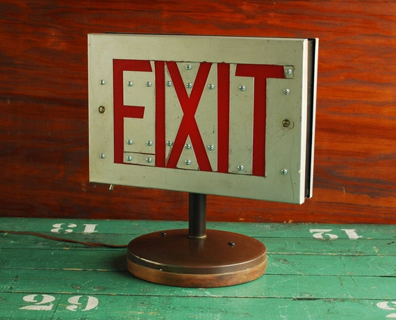 Upcycled Exit Light, Exit Sign Table Lamp - Lighting