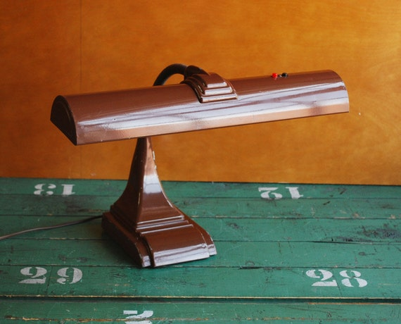 Art Deco Desk Lamp, Chocolate Brown Flourescent Gooseneck Table Lamp, Dorm Decor