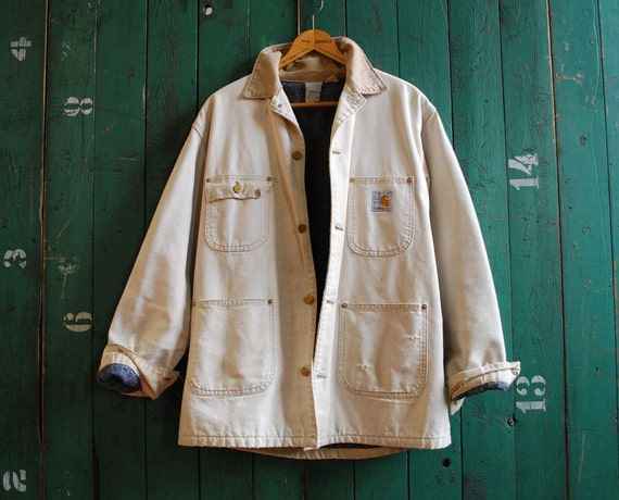 Perfectly Worn Carhartt Work Jacket, Tan Colored Blanket Lined