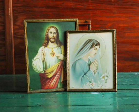 Jesus and Virgin Mary Framed Litho Prints, Classic Religious Art Christian Imagery