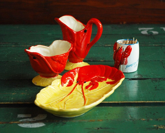 Maruhon Ware Lobster Set, Hand Painted in Occupied Japan - Sugar Bowl, Creamer, Plate